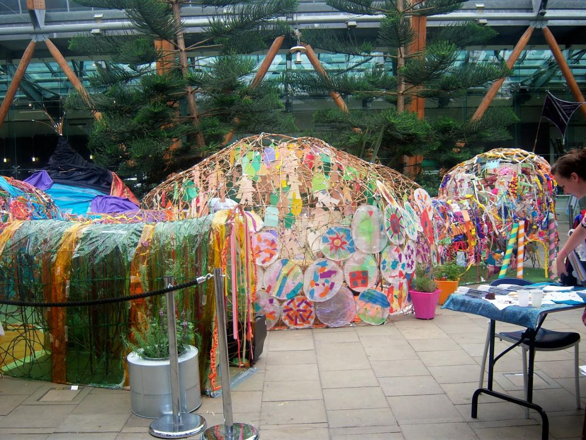 Dens made by Art in the Park in the Winter Gardens, Sheffield.