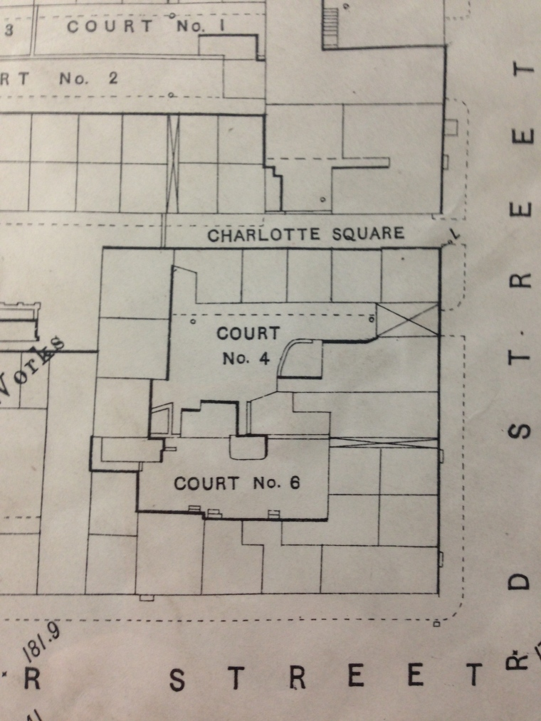 Map showing Courts 4 & 6 on the corner of Shepherd Street and Doncaster Street