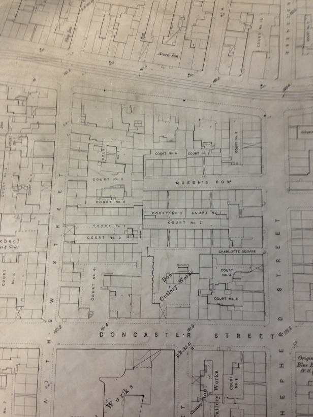1890 map showing the layout of the back to back houses laid out in 'Courts' on what is now the Furnace Park site